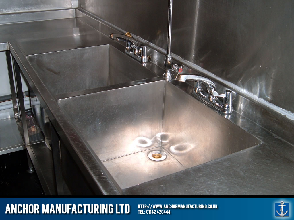 Restaurant kitchen sink installed. Anchor Manufacturing LTD