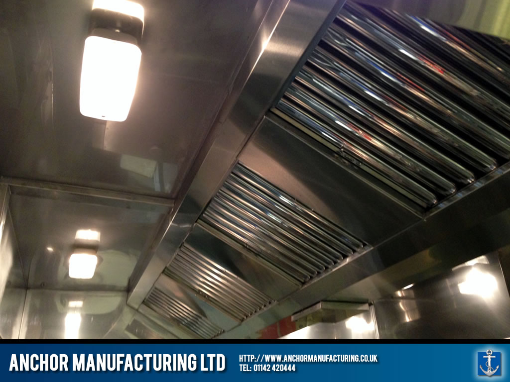 Industrial Sized Kitchen Canopy With Bulkhead Lighting