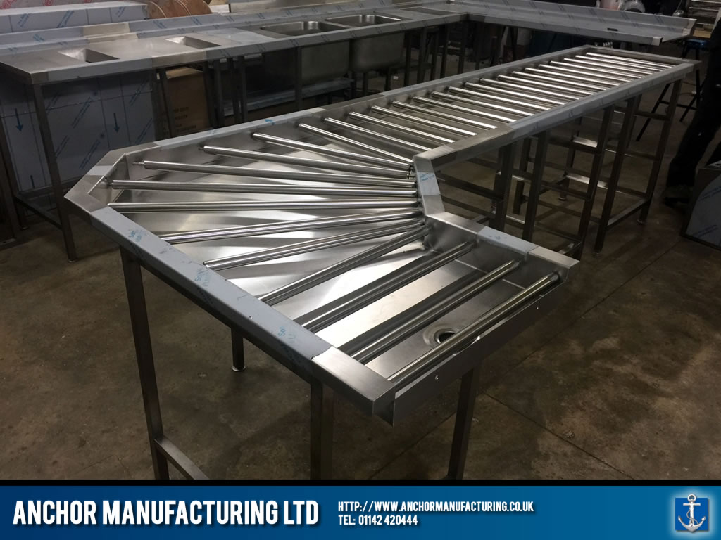Stainless Steel Clean Table Dishwashing With Roller System